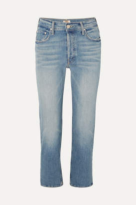Mother The Tomcat Cropped Distressed High-rise Straight-leg Jeans - Mid denim