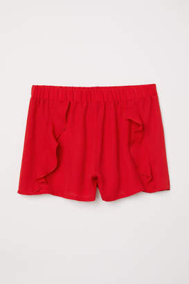 H&M Ruffle-trimmed Shorts - Red