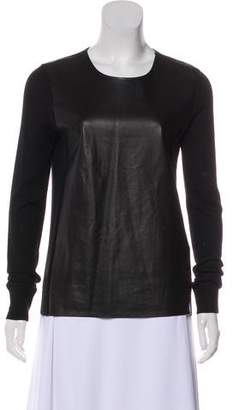 Vince Leather-Paneled Wool Sweater