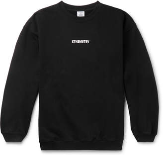 Vetements Logo-Print Fleece-Back Cotton-Jersey Sweatshirt - Men - Black
