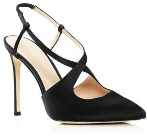 Pour La Victoire Women's Cerry Pointed Toe Satin Slingback High-Heel Pumps