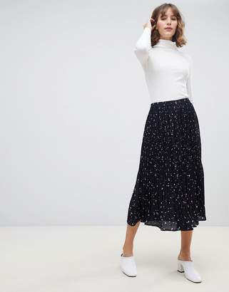 Selected pleated printed midi skirt