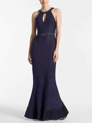 St. John Luxe Ottoman Knit Fit & Flare Gown