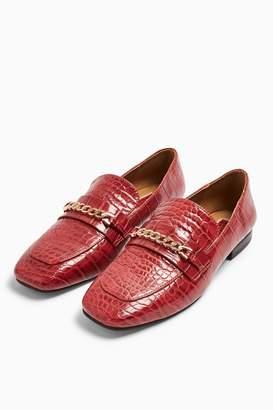 Topshop Womens Lorenzo Crocodile Square Toe Loafers - Red