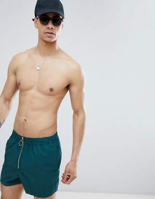 Asos DESIGN Swim Short In Green With Zip Front Fastening In Short Length