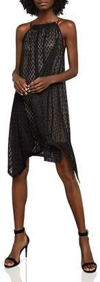 BCBGMAXAZRIA Asymmetrical Mesh Trapeze Dress