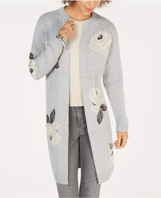 Style&Co. Style & Co Embroidered Floral-Jacquard Long Cardigan
