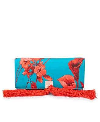 Ted Baker Fantasia Print Satin Clutch Bag Colour: TURQUOISE, Size: One