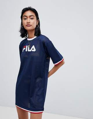 Fila Oversized T-Shirt Dress In Mesh With Contrast Tipping