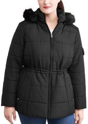Weathertamer WEATHER TAMER Women's Plus-Size Quilted Puffer Jacket w/ Faux Fur-Trim Hood