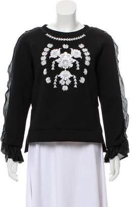 Marchesa Voyage Silk Embellished Sweatshirt
