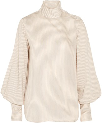 Bassike Striped Woven Turtleneck Top