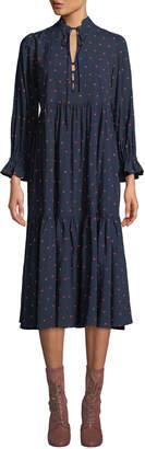 AG Jeans Celeste Dot-Print Tiered Long-Sleeve Midi Dress