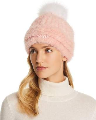Maximilian Furs Fox Fur Pom-Pom Knit Mink Fur Hat - 100% Exclusive