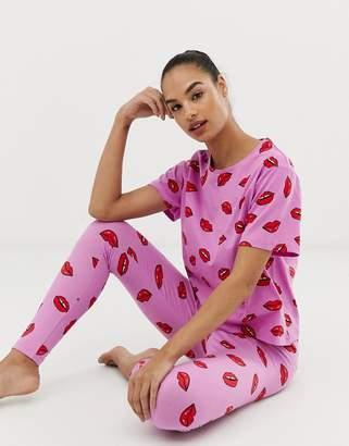Asos Design DESIGN lips pyjama legging set 3f88d2c30
