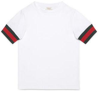 Gucci Web-Trim Cotton Jersey Tee, White, Size 4-12 $145 thestylecure.com