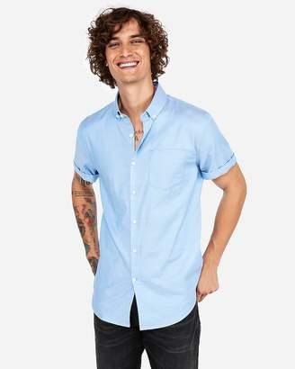 Express Slim Short Sleeve 1Mx Button-Down Shirt