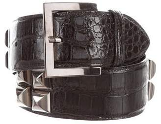 Oscar de la Renta Stud-Embellished Alligator Belt
