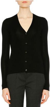 Prada Knit V-Neck Cashmere-Silk Cardigan