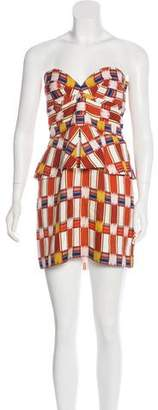 Sass & Bide Printed Strapless Mini Dress