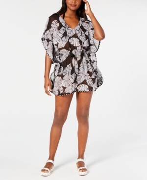Miken Juniors' Printed Smocked-Waist Cover-Up Women's Swimsuit