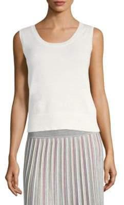 Agnona Silk Cotton Lurex Knit Tank Top