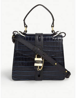 Chloé Aby croc-embossed leather small satchel