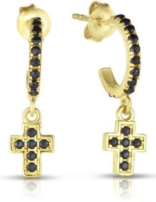 Sphera Milano 14K Yellow Gold Plated Sterling Silver Pave Black CZ Huggie Hoop & Dangling Cross Dangle Earrings