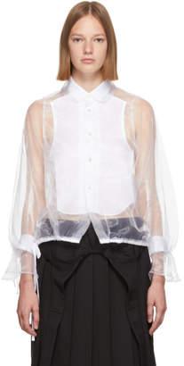 Noir Kei Ninomiya White Organza Broad Panel Shirt