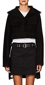 Yohji Yamamoto Women's Stretch-Cotton Crop Jacket - Black