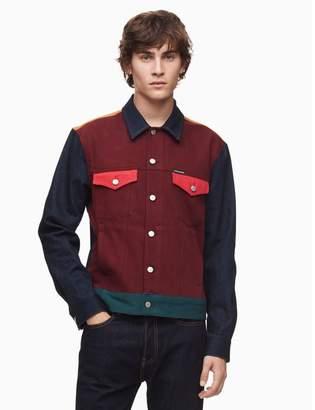 Calvin Klein colorblocked denim trucker jacket