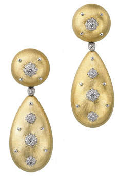 Buccellati Macri 18k Pendant Earrings w/ Diamonds