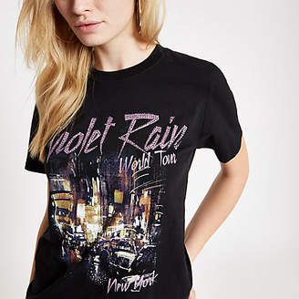 River Island Womens Black 'Violet Rain' heatseal print T-shirt