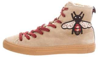 Gucci Embroidered Bee Shearling Sneakers