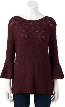 Lauren Conrad Women's Pointelle Bell-Sleeve Sweater