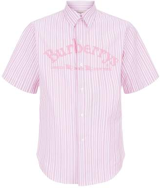Burberry Embroidered Logo Striped Shirt