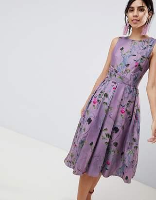 Little Mistress Lavender Print Midi Skater Dress