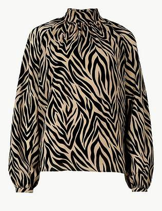 Marks and Spencer Animal Print High Neck Long Sleeve Blouse