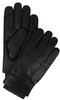 Tommy Hilfiger Knit-Trim Leather Gloves