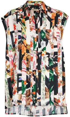 Burberry Archive Scarf Print Silk Sleeveless Shirt