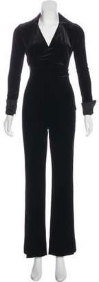 Diane von Furstenberg Velvet High-Rise Jumpsuit