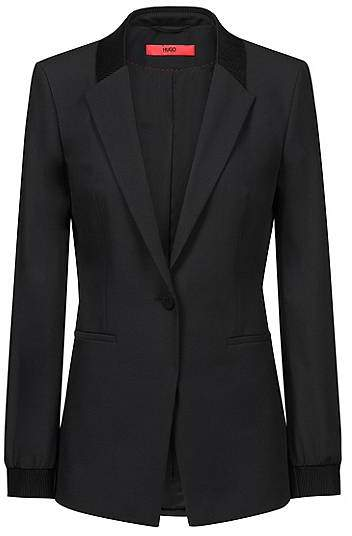 Regular-fit jacket with ribbon trims