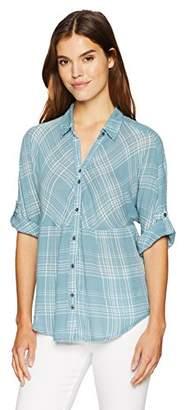 Nine West Women's Hayden Roll Sleeve Dolman Shirt