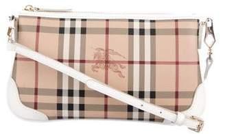 Burberry Leather-Trimmed Haymarket Check Crossbody Bag