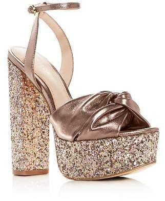Rachel Zoe Claudette Glitter High Block-Heel Platform Sandals