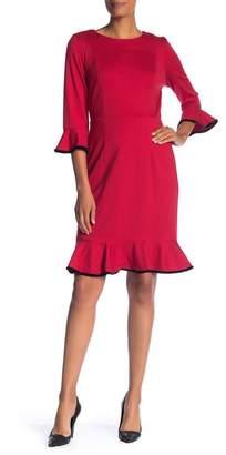 Nanette Lepore NANETTE Ruffle Velvet Trim Knit Dress