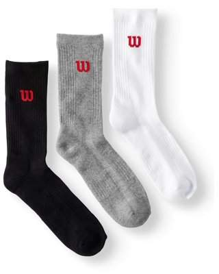 Wilson Men's Real Cool Cotton Performance Crew Sock 3-Pack
