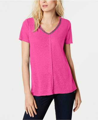 INC International Concepts I.N.C. Short-Sleeve Embellished V-Neck Top, Created for Macy's