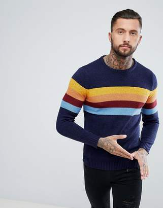 Pull&Bear Jumper With Multi-Coloured Stripes In Navy