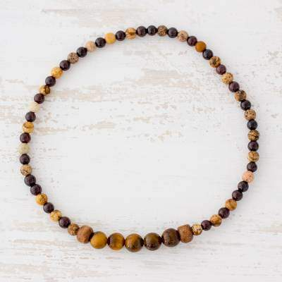 Earthy Soul Tiger's Eye Jasper and Garnet Beaded Anklet from Guatemala